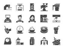 Kaffeestubeikonensatz Schloss die Ikonen als Café, Espresso, Kaffeemaschine, Röstermaschine, Lattekunst, barista und mehr ein stock abbildung