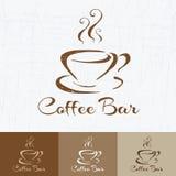 Kaffeestubelogodesign-Schablonenretrostil Weinlese-Design für Firmenzeichen, Aufkleber, Ausweis und Markendesign Hand gezeichnete Stockbild