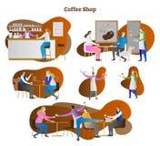 Kaffeestubeszenenvektorillustrations-Sammlungssatz Kellner- und Kellnerinumhüllung Latte, Espresso und Cappuccino zum Kunden stock abbildung
