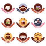 Kaffeestubevektorlogo, Aufkleber, Aufkleber, Emblemsatz Lokalisierte Gestaltungselemente des Cafés oder des Restaurantfrühstücks  stock abbildung