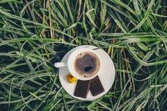 Kaffeetasse auf dem gefrorenen Gras Lizenzfreie Stockbilder