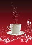 Kaffeetasse auf einem roten Hintergrund lizenzfreies stockfoto