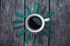 Kaffeetasse auf Grün verlässt Hintergrund Ebenenlage Lizenzfreie Stockfotografie
