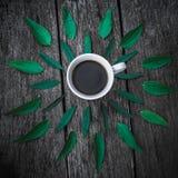 Kaffeetasse auf Grün verlässt Hintergrund Ebenenlage Lizenzfreies Stockfoto