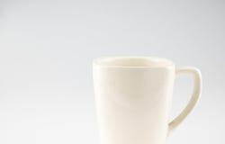 Kaffeetasse auf grauem Hintergrund, Urlaubraum für das Addieren des Textes Lizenzfreies Stockfoto