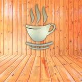 Kaffeetasse auf hölzernem Hintergrund Stockfotografie