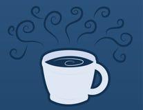 Kaffeetasse-Becher mit blauem Dampf Stockbilder
