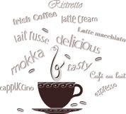Kaffeetasse-Bohnen-Text Stockbilder