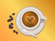 Kaffeetasse, Bohnen und Löffel Stockfotografie