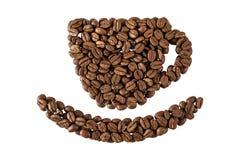 Kaffeetasse entworfen von den Kaffeebohnen Stockfotografie