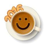 Kaffeetasse für gute Laune in neuem Jahr 2016 Stockfotos