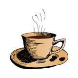 Kaffeetasse, heiße Morgenkaffee Hand gezeichnete Skizzen-Vektorillustration Stockfoto