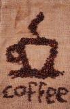 Kaffeetasse hergestellt von den Bohnen Lizenzfreie Stockfotos