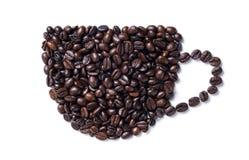 Kaffeetasse hergestellt von den Bohnen Getrennt auf weißem Hintergrund Lizenzfreies Stockfoto