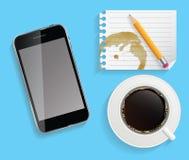 Kaffeetasse mit abstraktem Tablet-Vektor Stockfotografie