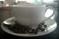 Kaffeetasse mit Bohnen in einem Café Stockbilder