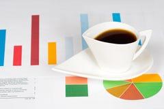 Kaffeetasse mit bunter Bar und Kreisdiagrammen Stockbilder
