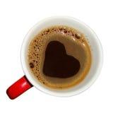 Kaffeetasse mit der Herzform gemacht vom Schaum Lizenzfreie Stockfotos