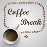 Kaffeetasse mit einer Mitteilung Stockfotos