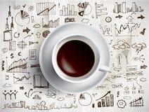 Kaffeetasse mit farbigen Gekritzeln Stockfotografie