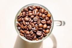 Kaffeetasse mit gebratenen Bohnen Beschneidungspfad eingeschlossen lizenzfreie stockfotografie
