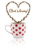 Kaffeetasse mit Kaffeebohnen formte Herz mit Zeichen des guten Morgens Stockfotos