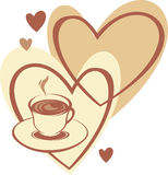 Kaffeetasse mit Liebe Stockfotografie