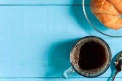 Kaffeetasse Schwarzes des guten Morgens der Draufsicht Stockfoto
