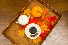 Kaffeetasse, Sugar Bowl, Eicheln, Kürbis und Fall-Blätter Stockfotografie