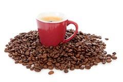 Kaffeetasse umgebene bij Bohnen Lizenzfreies Stockfoto