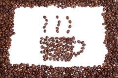 Kaffeetasse und Bohnen Stockfotografie