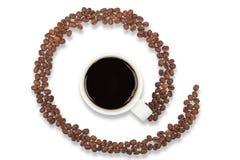 Kaffeetasse- und eMail-Symbol von den Kaffeegetreide Lizenzfreies Stockbild