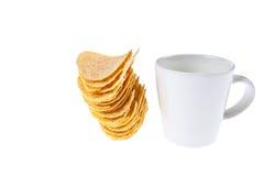 Kaffeetasse und Imbiß stockbilder