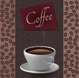 Kaffeetasse- und Kaffeebohnehintergrund Stockbilder