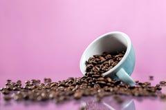 Kaffeetasse und Kaffeebohnen auf Farbhintergrund stockfotografie