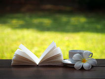 Kaffeetasse und offenes Buch mit Blume auf Holztisch, Weichzeichnung Stockbild