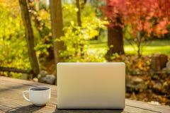 Kaffeetasse und Silber-Laptop auf Picknicktisch draußen Stockbild