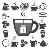 Kaffeetasse und Teecupikonenset. Abbildung Lizenzfreies Stockfoto