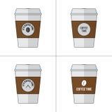Kaffeetasse-Vektor-Illustrationssatz Lizenzfreie Stockbilder