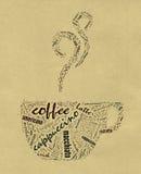 Kaffeetasse Wörter Lizenzfreies Stockbild