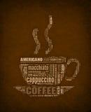 Kaffeetasse Wörter Stockfotografie