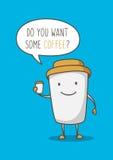 Kaffeetasse-Zeichentrickfilm-Figur-Vektorillustration Lizenzfreie Stockbilder