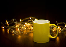 Kaffeetasseabbildung gebildet im Ziegelsteinillustrator Stockfotos