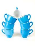 Kaffeetasseblau und -WEISS Lizenzfreie Stockfotos