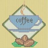 Kaffeetasseikone auf gestricktem Hintergrund Stockbilder