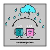 Kaffeetasseikone Das Konzept: Brunnen zusammen, Freundschaft, Liebe, Stockfotografie
