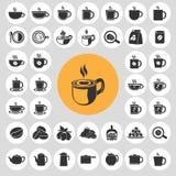 Kaffeetasseikonen eingestellt stock abbildung
