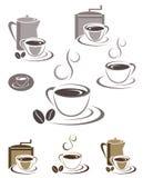 Kaffeetasseikonen- und -emblemauslegungset Stockfotografie