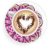 Kaffeetassemandala Stock Abbildung