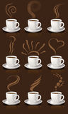 Kaffeetassen und Dampf Stockfotos